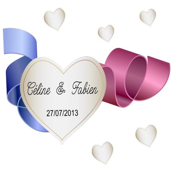 sickers mariage sp cial sol coeur ruban. Black Bedroom Furniture Sets. Home Design Ideas