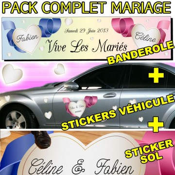 stickers autocollant Mariage Complet - Banderole, Véhicule, Sol