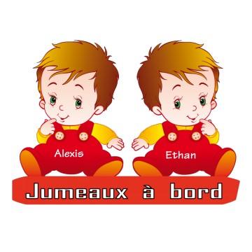 Stickers Jumeaux à Bord personnalisé
