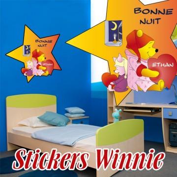 sticker Winnie Bonne Nuit Personnalisé