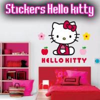 Stickers Hello Kitty dans son petit jardin