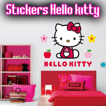 Stickers Hello Kitty dans son petit jardin