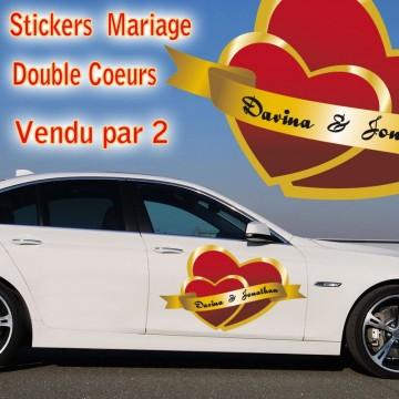 stickers Mariage double coeurs vendu par 2