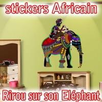 stickers africain Rirou sur son Éléphant