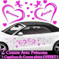 Stickers Mariage Coeurs Personnalisé + Cupidons + Coeur Plein OFFERT