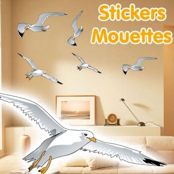 Stickers Autocollant Vol de Mouettes