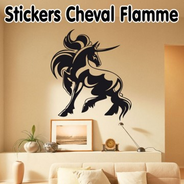 Stickers Cheval Flamme