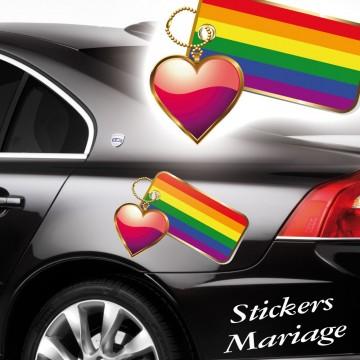 Stickers Mariage Porte Clé coeur