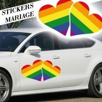 Stickers Mariage Cœurs entrelacés
