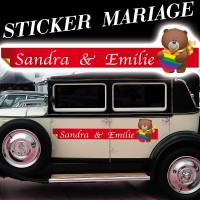 Stickers Mariage Ruban avec ourson