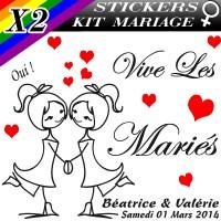 Stickers Déco Voiture Mariage Gay Femme avec Personnages (Kit 2 cotés)