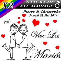 Stickers Déco Voiture Mariage Gay Homme avec Personnages (Kit 2 cotés)