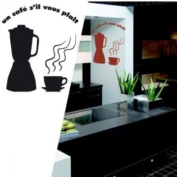 sticker cuisine un petit caf s 39 il vous pla t france stickers. Black Bedroom Furniture Sets. Home Design Ideas