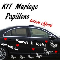 Stickers Déco Voiture Kit Mariage Papillons