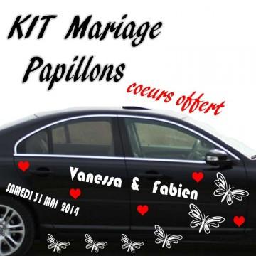 Stickers Voiture Kit Mariage Papillons vendu par 2