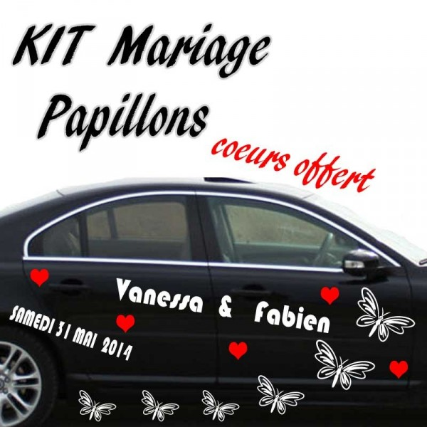Stickers mariage voiture papillons france stickers - Kit decoration voiture mariage ...
