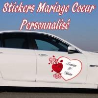 Stickers Mariage Cœur Personnalisé