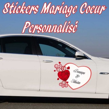 Stickers mariage coeur personnalis france stickers for Stickers exterieur personnalise