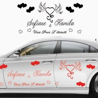 Stickers Mariage Coeur Colombe