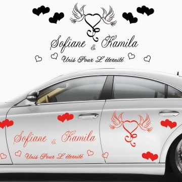 Stickers Mariage Coeur Colombe vendu par 2