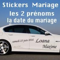 Stickers Mariage Les 2 prénoms + Date du Mariage