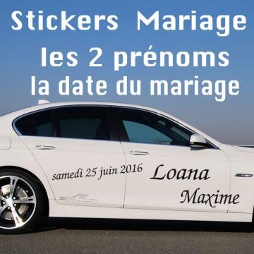Stickers Mariage Les 2 prénoms + Date du Mariage vendu par 2