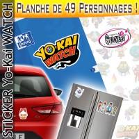 Stickers YoKai Watch Planche de 49 personnages