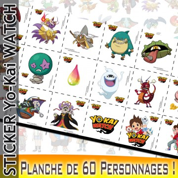 Stickers YoKai Watch - Planche de 60 personnages !