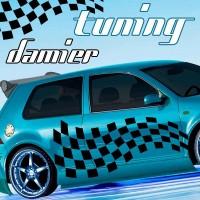 Planche de Deux Stickers Tuning Damier - 3