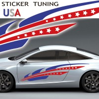 Stickers Autocollant Tuning Color USA par 2