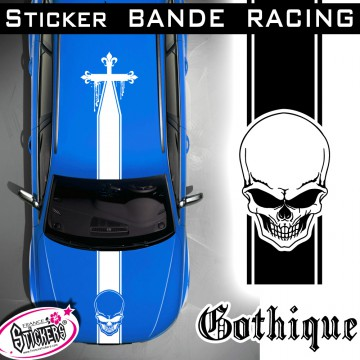 Stickers Tete de Mort Voiture Bande Racing tuning