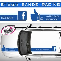 Stickers Bande Racing Voiture Facebook Like