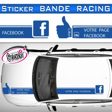 Stickers Bande Racing Voiture Facebook Like tuning