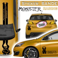 Stickers Bande Racing Voiture Monster