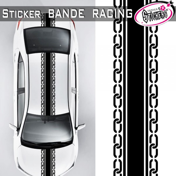 stickers bande racing voiture chaine tuning. Black Bedroom Furniture Sets. Home Design Ideas