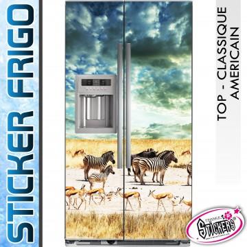 Stickers Frigo Zèbre Antilope en Plaine Africaine