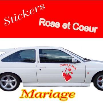 Stickers Mariage Rose et Coeurs vendu par 2