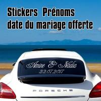 Stickers Autocollant Mariage les deux prénoms + Date offerte