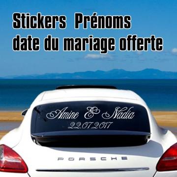Stickers Mariage les deux prénoms + Date offerte