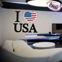 Stickers Autocollant I Love USA