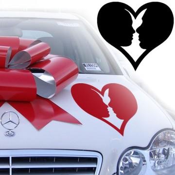Stickers Mariage Visage Coeur