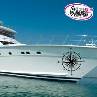 Adhésif coque bateau Boussole - Rose des vents
