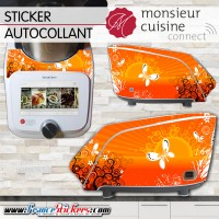 Stickers Autocollants Monsieur Cuisine Connect MCC - Papillon Floral Orange