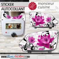 Stickers Autocollants Monsieur Cuisine Connect MCC - Fleur Déco Violet