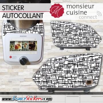 Stickers Autocollants Monsieur Cuisine Connect MCC - Noir et Blanc