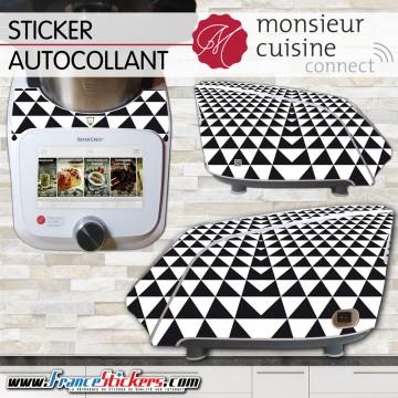 Stickers Autocollants Monsieur Cuisine Connect MCC - Triangle Noir et Blanc