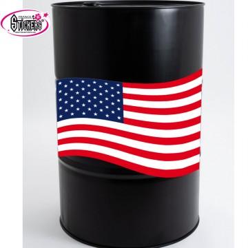 Stickers Autocollant pour Baril ou Bidon drapeau americain