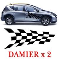 Planche de 2 Stickers Tuning Damier - 2